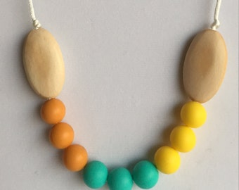 The Bianca- Mango, Turquoise, Yellow Teething Necklace/Nursing Necklace