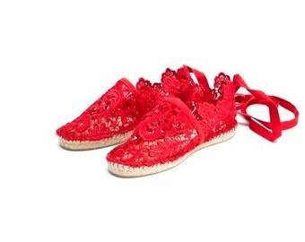 Blonde red espadrilles