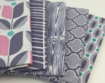 5 Piece Fat Quarter Bundle - Joel Dewberry - True Colors Grays - for Free Spirit Fabrics (100% Cotton, Precut Quilting Fabric Bundle)