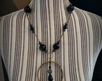 Handmade oxidized brass statement necklace