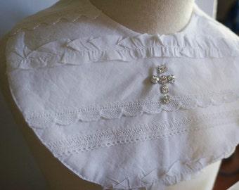 Baby Christening/Baptism Bib Gift Diamonte Beaded Cross 100% English Cotton Lace Frills
