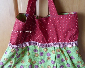 Reversible bags, carrying bag, shopper, bag, shopping bag, lucky, mushroom. Diamonds, dots, fly agaric