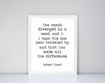 Two Road Diverged in a road, and I I took the one less traveled by and that has made all the difference Robert Frost Printable, Digital File