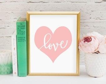 Heart Love in Pink Printable, Digital Printable