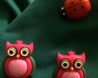 Cute Pink & Green OWLS OWL Clog Shoe Charms