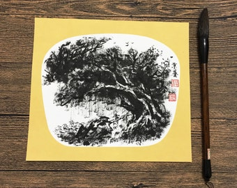 Original Chinese Ink and Wash Painting,  Ancient Zen Tree, Old Willow Tree, 24x27cm, Chinese Painting, Wall Art, Home Decor, Great Gift