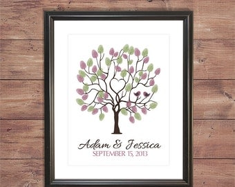 Customizable Wedding Finger Print Tree (Could be used in place of a Guestbook!)