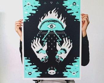 Illuminati Taco Screenprint Poster