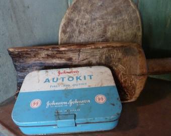 antique first aid kit / johnson and johnson first aid kit / metal rx tin / vintage / first aid kit / industrial / bathroom /laundry / tin