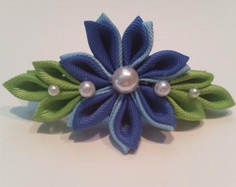 Blue Kanzashi Flower Hair Bow, Barrette