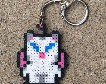 Moogle (Keychain) - Final Fantasy - Video Game - Inspired Perler Bead Sprite Pixel Art
