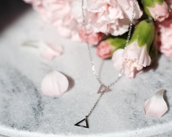 Triangle Sterling Silver Necklace | Small Simple Tiny Dainty Geometric Necklace | 925 Hypoallergenic
