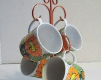 Vintage Retro Groovy Flower Power Orange & Yellow Porcelain Mod Coffee Cups W / Tree