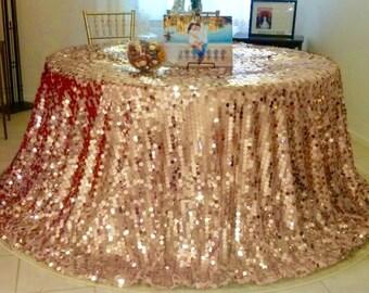 Blush Rose Gold Large Circle Sequin Tablecloth
