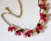 Vintage Coro Red Bows Thermoset Bib Necklace