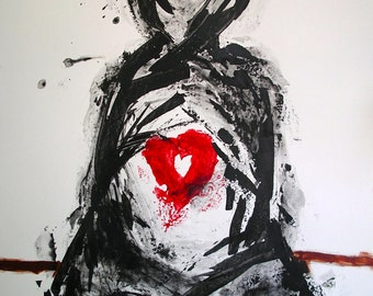 Samurai Fine Art Deamon Painting Black White Red Brown