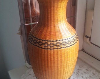 Vintage Wicker  Braided Vase Rustic  Straw Home Decor