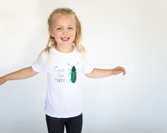Find The Happy Beetle T-shirt// American Apparel 10yr // Kids T-shirt // White T-shirt // Children's clothing