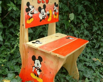 Painted children's chair - cartoon characters Personalized kids chair Children's furniture