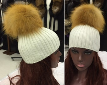 Beanie hat with natural Gold fox fur bobble/pompom attached