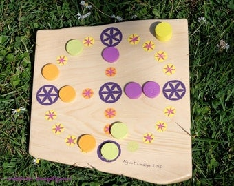 NYOUT game handcrafted wooden - Indigo energy creations - mandala sacred geometry child original anniversary gift