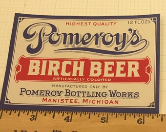 Original Pomeroy's Birch Beer Bottle Label