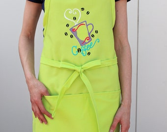 Embroidered Apron for Her, Coffee
