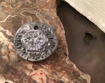 Andrew Thornton Sugar Skull Porcelain Pendant 1