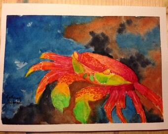 Tropical Crab original watercolor painting, signed, 5x7