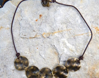 Bohemian hammered bronze necklace