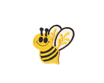 Bee Patch - Bee Embroidered Iron on Patch - Bee  Iron on Applique