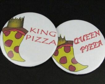 King & Queen Pizza Button/Pin - COUPLE SET