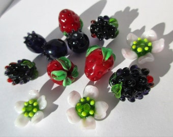 Fruits of the Forest, Lamp work Glass Beads
