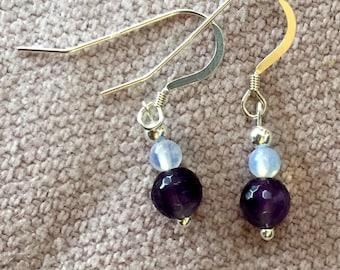 Amethyst and Opal Sterling Silver Earrings