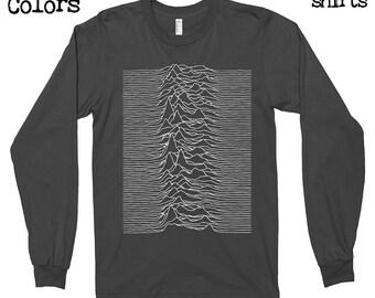 Joy Division - Unknown Pleasures Longsleeves T-shirt, Tee, American Apparel, Music, Rock, Retro, Ian Curtis, Punk, , Cute Gift