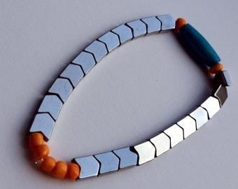 Orange & Turquoise Chevron Bracelet