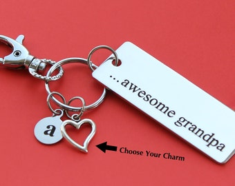Personalized Grandpa Key Chain Stainless Steel Customized with Your Charm & Initial -K481