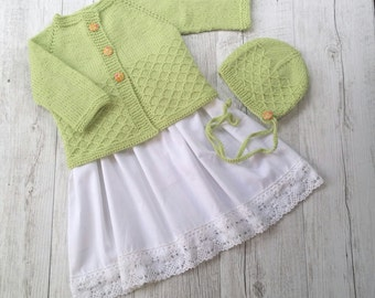 Lattice Cardigan & Bonnet - Hand Knitted - Size 0 - 100% Australian Wool