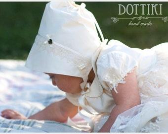 Baby Bonnet, Silk Bonnet, Baby Hat, Baby Cap, Silk and Lace Bonnet, Baby Girl Bonnet, Flower Girl Bonnet, Girl Bonnet, Newborn  Bonnet