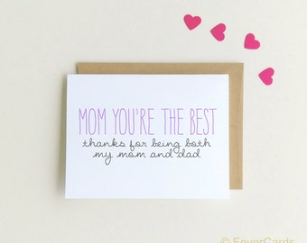 Card for Mom | Funny Card for Mom | Single Mom Card | Mom you're the best | Single Mother | Birthday Card Mom | Thinking of You {SKU: FC147}