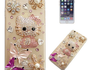 Rhinestone Bling 3D Deco Customized Hello Kitty Handmade iPhone 5/6/6 Plus Case