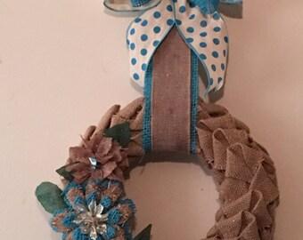 Burlap wreath with burlap flowers