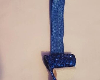 royal blue and white leather glitter bow