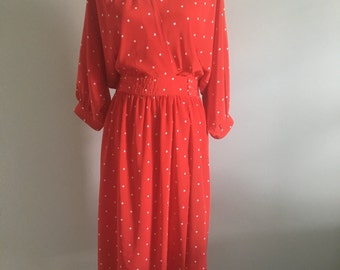 Vintage 80s Red Liz Claiborne Glamour Day Dress
