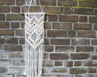 Macramé hand knotted tapestry with brass elements//Macramé wallart//wall decoration//Macramé carpet//wall decor