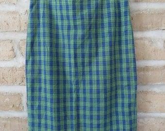 Vintage Goldix Modell Plaid Pencil Skirt