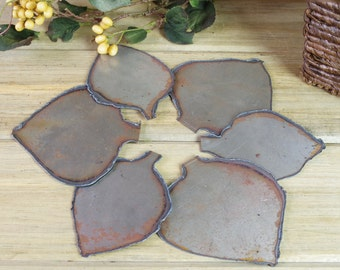 Metal Cut Leaves, Leaf Petal Cut Plates, Metal Flower Pieces, Flower Art, Assemblage, Altered Art, Metal Pieces, Found Objects #10-6