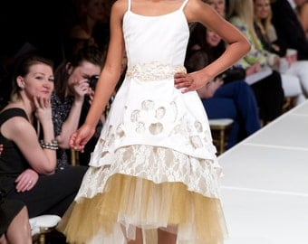 Ivory and Gold Layered Flower Girl A-Line w/ Sequin Cutouts