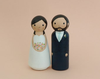 Custom Wedding Cake Topper -  Bride and Groom Figurine - Personalized Wedding Decor Keepsake