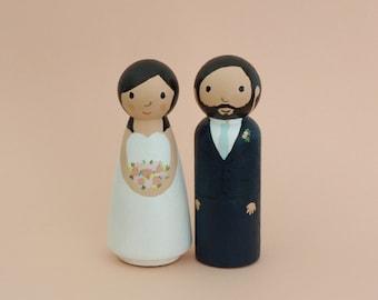 Custom Wedding Cake Topper - Bride and Groom Figurines - Personalized Wedding Decoration